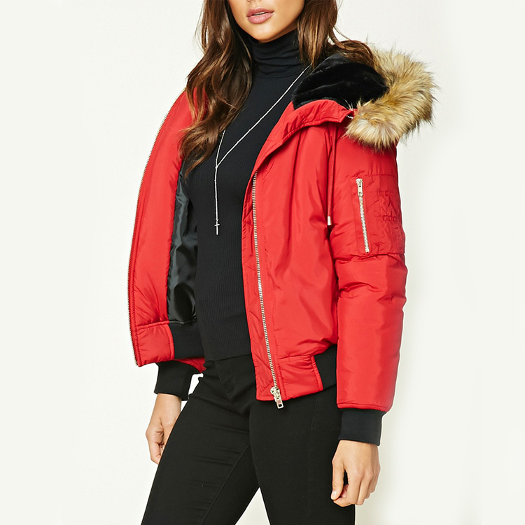 Stock Fashion Women Plain Hooded Winter Thick Bomber Quilted Jacket