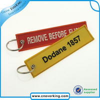 Remove Before Flight Embroidery Fabric Key Chain