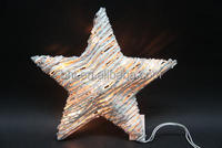 Rattan star with 15 clear lights white