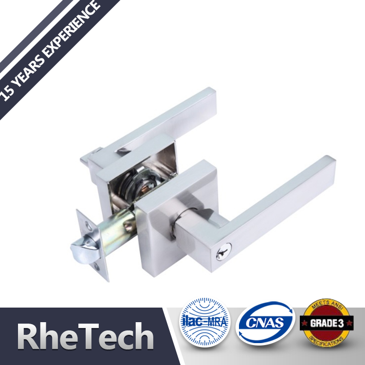 Zinc Alloy Cheaper Satin Nickel square modern entrance privacy passage heavy duty Lever handle tubular door lock