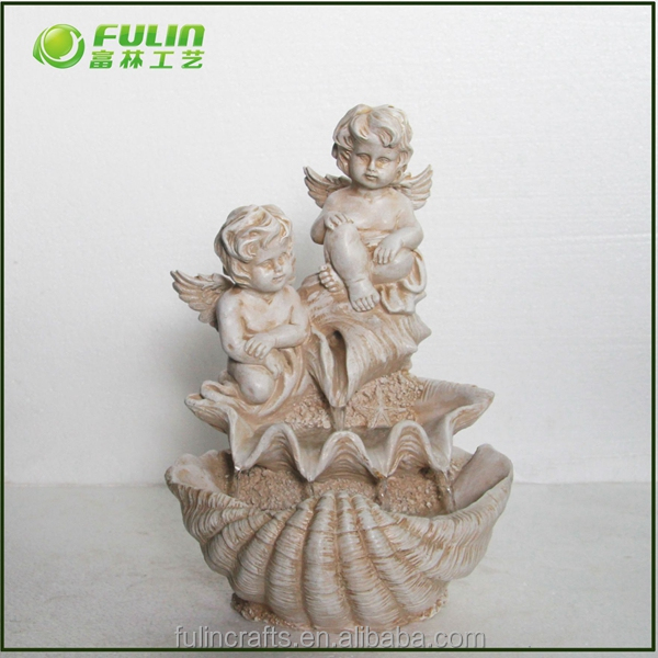 Polyresin indoor angel fountain