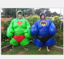 Inflatable sumo wresting suits of different cartoon character modeling,bathman, superman,spiderman vs hulk inflatable sumo