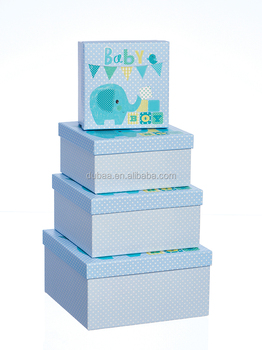 Gift Boxes 2016- Blue Elephant - Nest of 4 Square Gift Packaging Box Sets