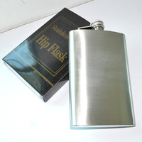 Creative Gifts 8 oz Travel Stainless Steel Flagon Portable Fashion Men's Outdoor Sport Liquor Bottle Whiskey Pocket Hip Flask
