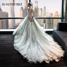 2017 Wholsale Alibaba Newest design U-shaped neck gorgeous lace luxury colorful flowers wedding dress with long trailing