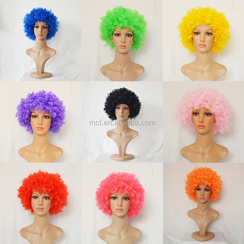 MCW-0113 Wholesale cheap Party Football Sports supporter cheering Fans Synthetic afro wig for Soccer