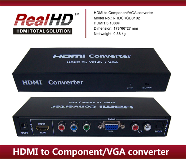 1080P Full HD TV VGA to RCA HDMI converter/ HDMI to YPbPr Video Adapter box with mkv-336 upscaling