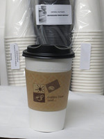 White Hot Coffee Cup With Lid And Sleeve