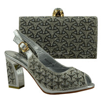 African Shoes And Matching Bags Italian Women Shoes And Bags To Match Set With Stones Sliver 89231-917