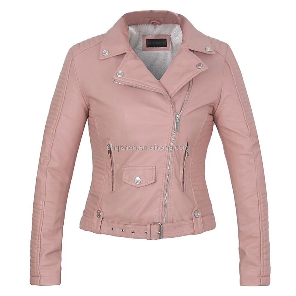 Latest fashion pink color thick winter pu leather jacket wholesale womens clothing