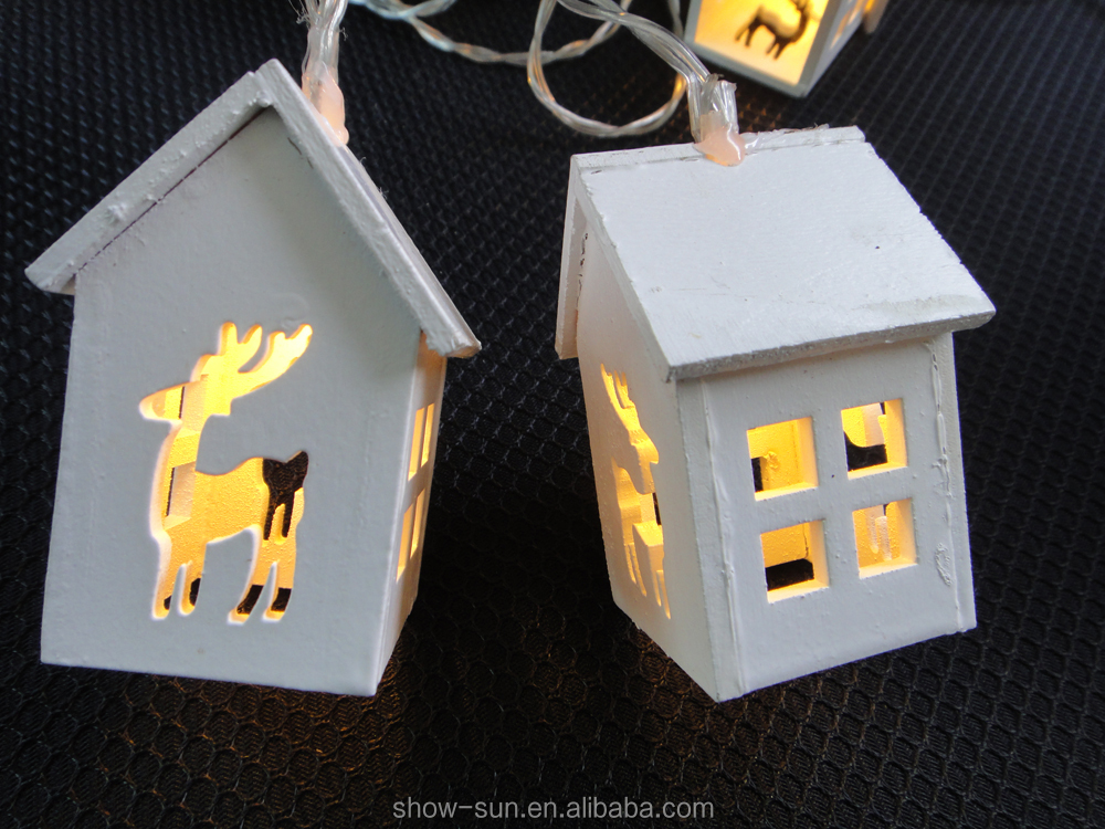 Battery operated 10LED/1.35m 20LED/2.85m with wooden house decoration,powered by battery box/transforme