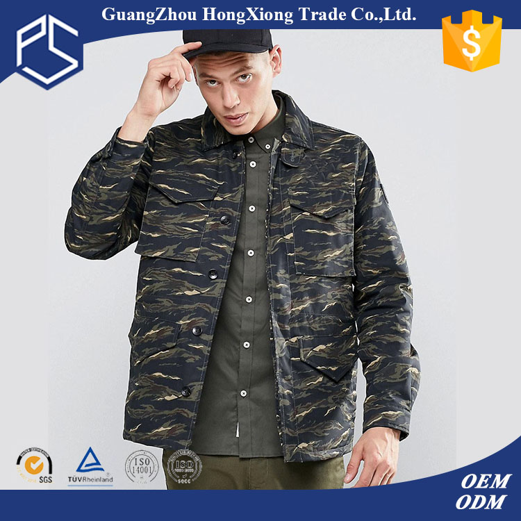 China Factory Custom Plain Comfortable Qualitied Fashion Button Pockets Camo Color Men Tactical Jacket