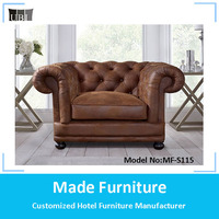 Antique genuine leather/fabric chesterfield sofa for living room