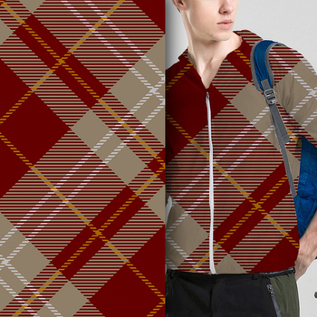 Fashion men air layer check pattern digital printed jacket fabric
