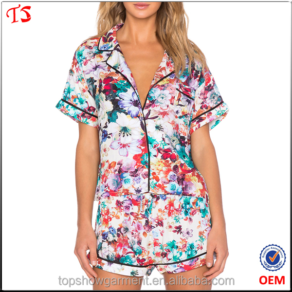 Wholesale printing floral sleepwear summer cotton ladies' pajama