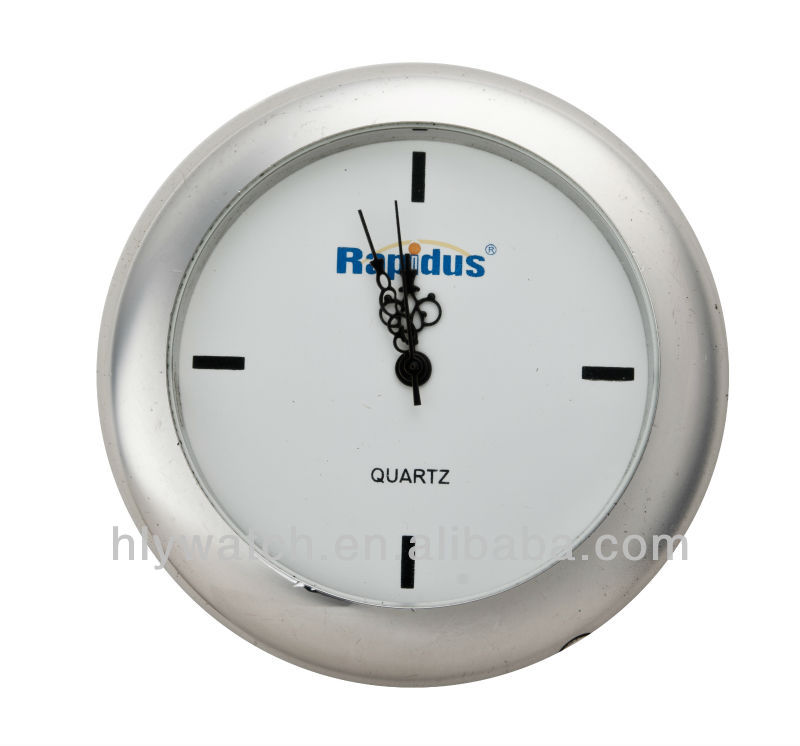 Round promotional gift insert clock,quartz insert clock fit up made in clock insert factory,silver bezel 18mm mini insert clock