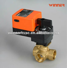 220VAC three way DN32 water flow control valve for cooling or heating system, fan coil units, air conditioning