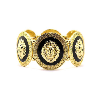 NEW Celebrity Style Gold Lion Face Piece Stretch Fashion Bracelet