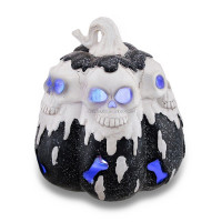 Black and White LED Lighted Glitter Melting Skulls Pumpkin