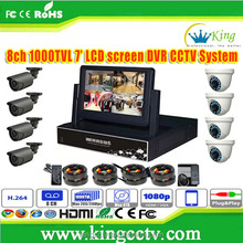 NEW 7inch LCD Screen HD DVR h 264 Network Home Security 8 Channel AHD CCTV Camera System
