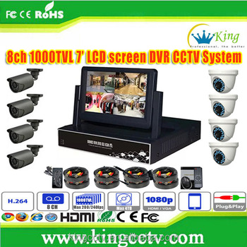 NEW 7inch LCD Screen HD DVR h 264 8 Channel CCTV Camera System