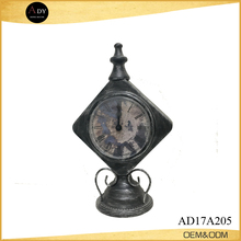 Antique black brushed metal antique brass table clock