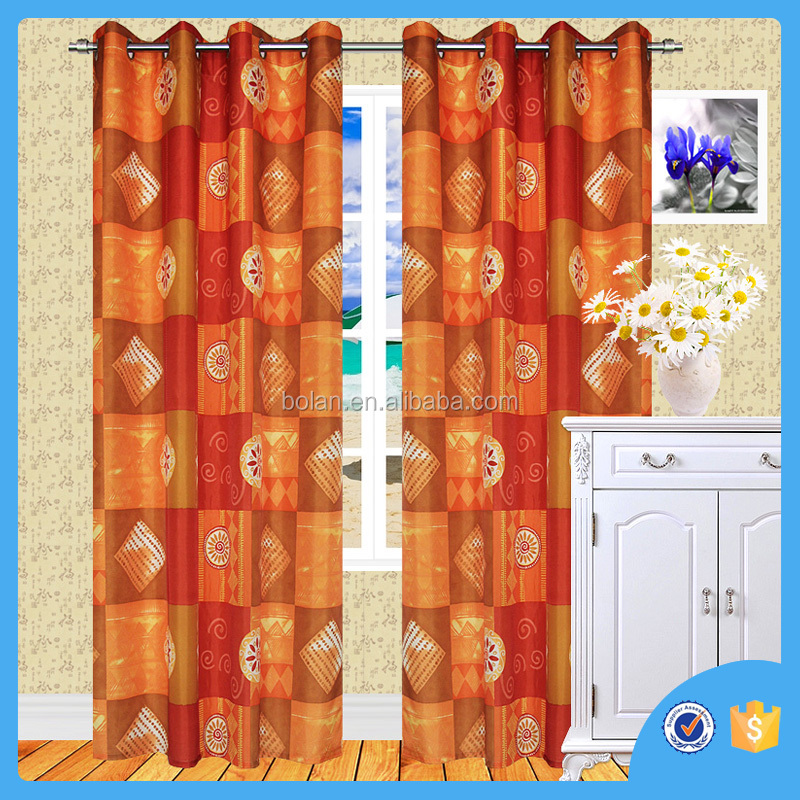 Beautiful Ready made printed curtain ,top grommets, made in china