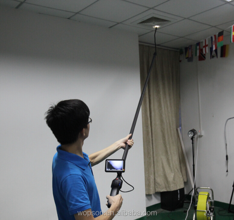 Telescopic pole inspection cameras for tank pipe