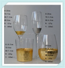 Rolled gold foil crystal wine glass tinfoil print wine glass with high quality