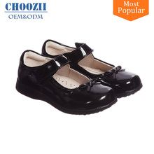 Patent Black Leather Children Girls School Shoes with Cushion Insole