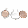New Design Charm Pendants Round Silver Tone Light Brown With Glass Cabochons 44.0mm x 32.0mm2 Sets