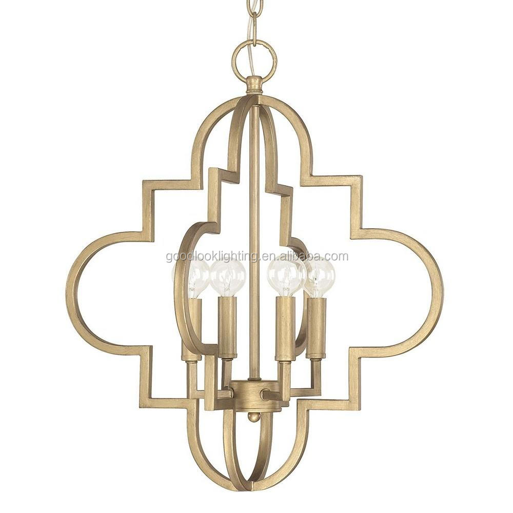 (C)UL & ETL listed modern metal pendant chandelier lighting with brushed gold & antique silver finish lantern