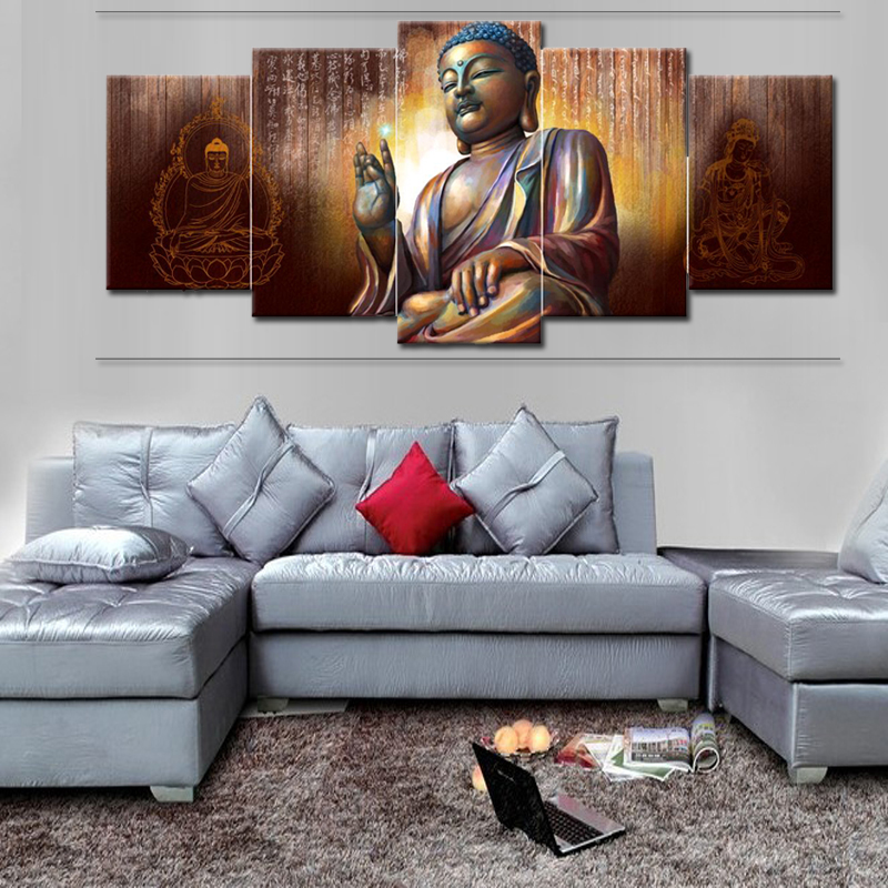 Modern Printed Buddha Painting Canvas 5panels Wall Art Prints large paintings