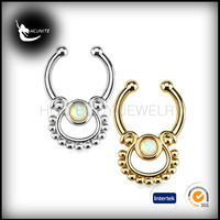new design gold plated brass fack septum, opal stone fack septum nose ring, 2016 tribal septum