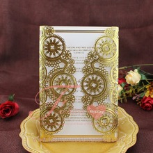 Unique Luxury Doilies Laser Cut Embossed Gold Gate Wedding Invitations