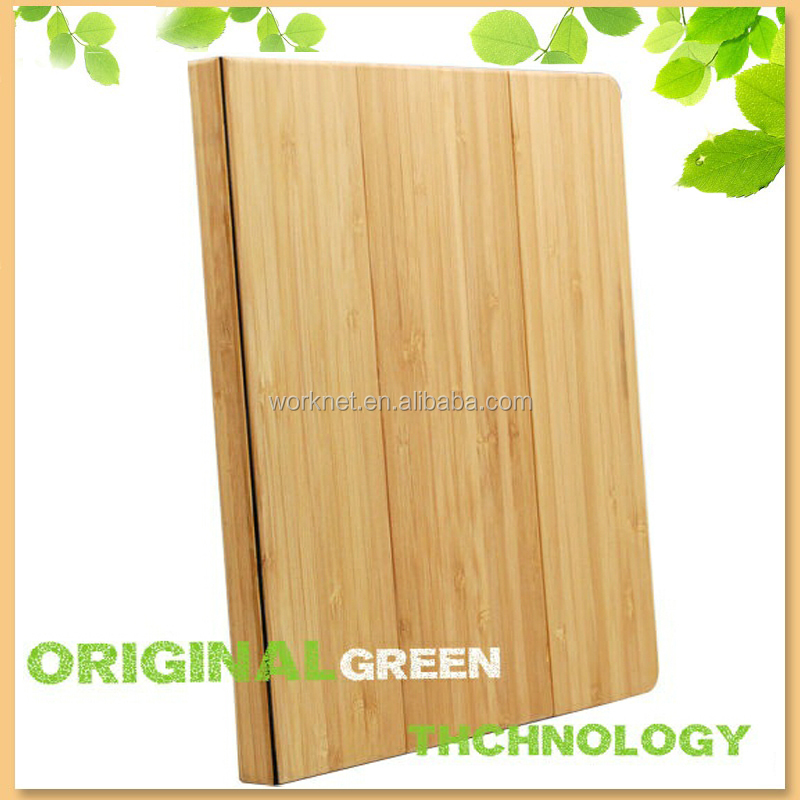 factory wholesale bamboo flip cover for i pad air 2 case