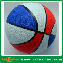 red/blue/white rubber basketball with custom design