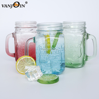 Creative design colored drinking glass mason jar with handle for liquid