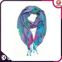 fashion plain design chic rose pattern scarf with fringe