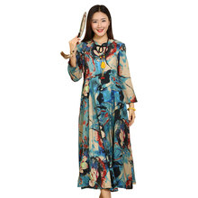 2018 Chinese Style Colorful Flower Cotton Beautiful Dress