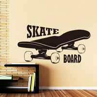 Cheap Price Quotes Vinyl Skate Board Wall Decal Stickers for Boys