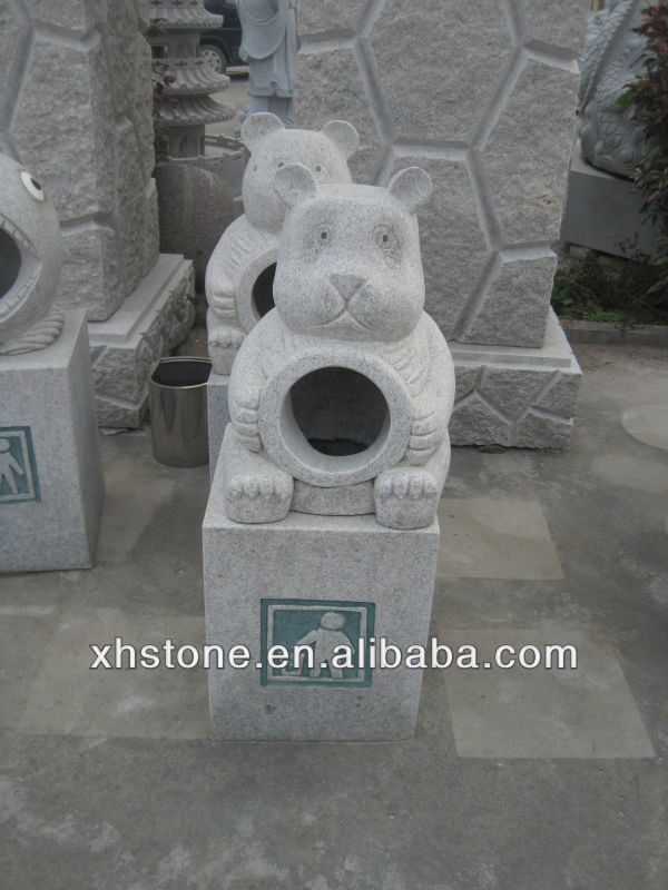 outdoor bear dustbin stone carvings , garden environmental bear dustbin stone carvngs