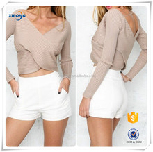2016 manufacturer new Fashion long sleeve v-neck ladies sexy tops