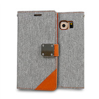 Cowboy Jeans Pattern Wallet Leather Stand Mobile Phone Cover Case For Samsung Galaxy S6 edge