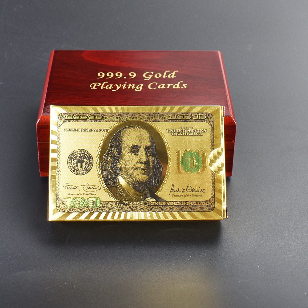 Customize poker 100 USD Dollar Design 24K Gold Foil playing Card With Wooden Box