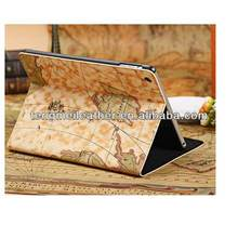 Retro Map Flip Stand Leather Magnetic Case Cover For Apple iPad mini,PU Leather Case For Ipad Mini