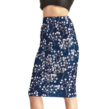 Hot selling knee high pencil skirt sexy printing floral midi elegant tight pencil skirt