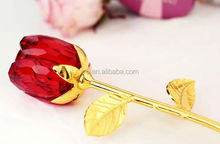 crystal red rose for Valentines Gift,crystal crafts,crystal gifts