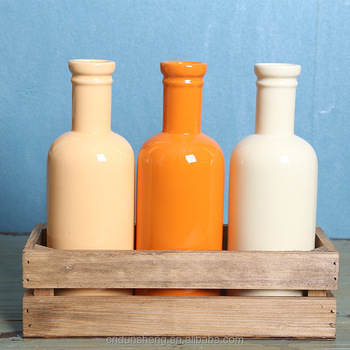 wholesale ceramic bottle in wood frame, American rustic style, set of 3