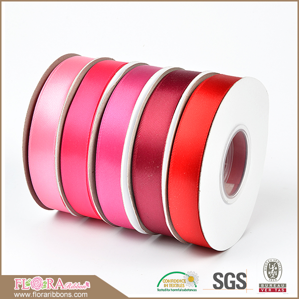 Top selling double face solid color 100% polyester satin ribbon